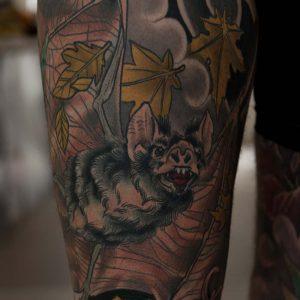 bat tattoo healed